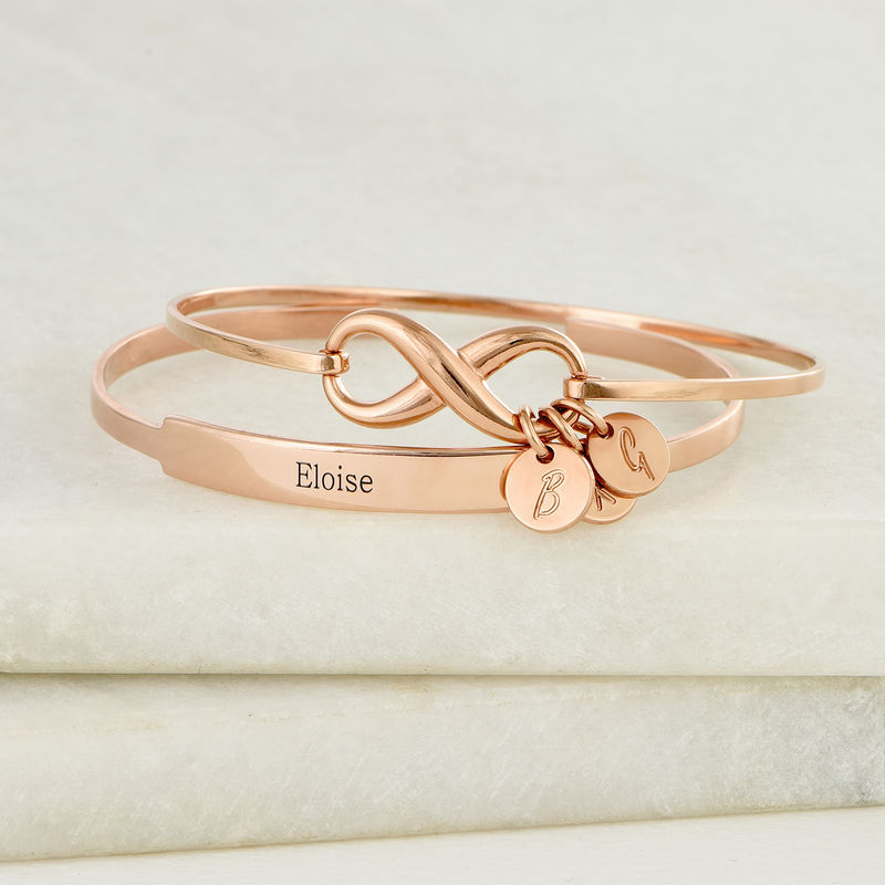 Infinity Bangle Bracelet with Initial Charms in Rose Gold Plating - 4
