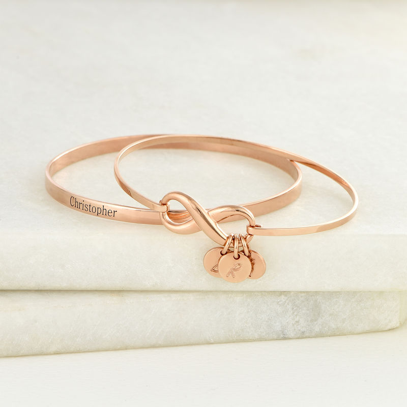 Infinity Bangle Bracelet with Initial Charms in Rose Gold Plating - 5