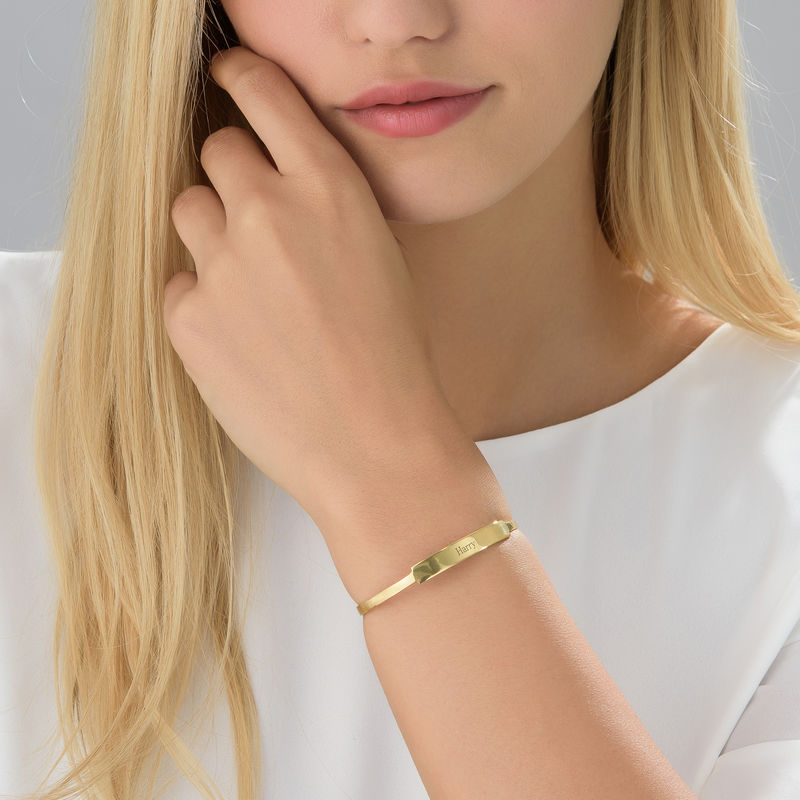 Open Name Bangle Bracelet in Gold Plating - 1