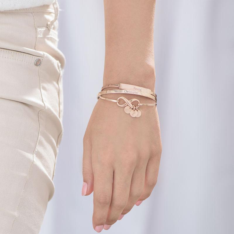 Open Name Bangle Bracelet in Rose Gold Plating - 2