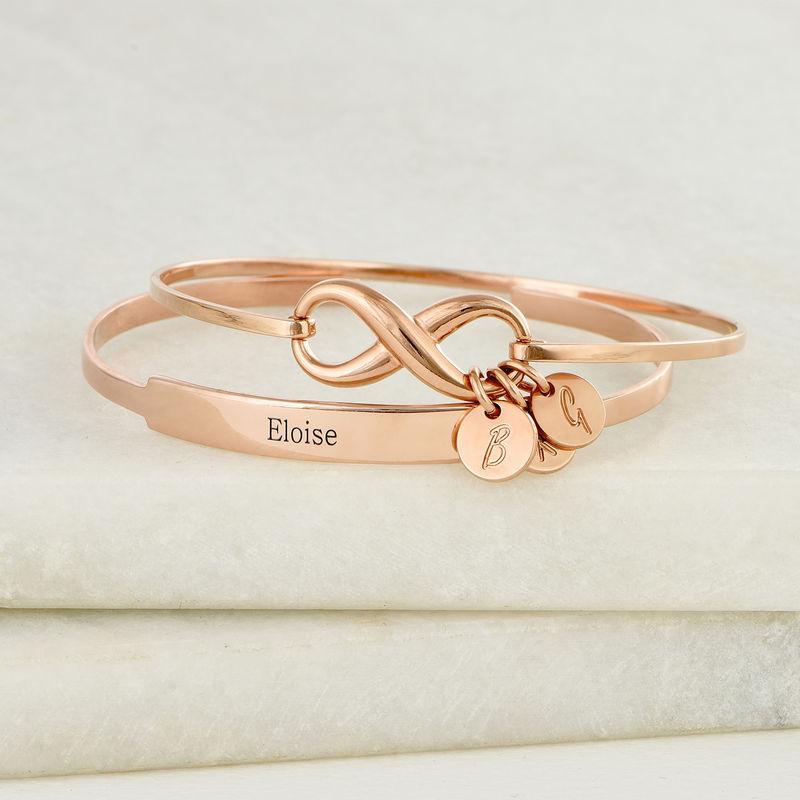 Open Name Bangle Bracelet in Rose Gold Plating - 3
