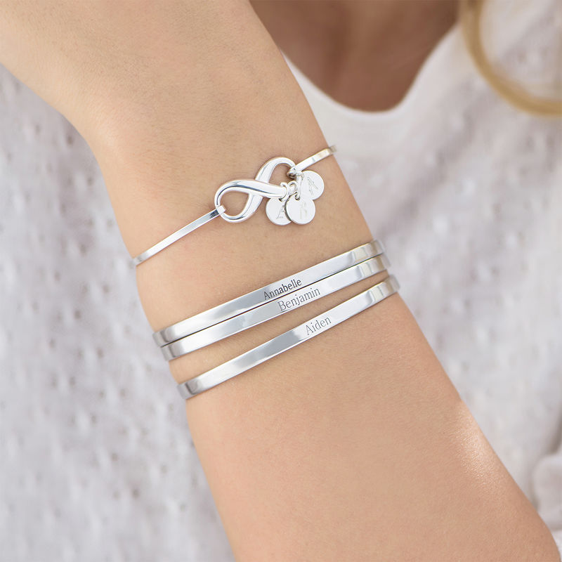 Engraved Bangle Bracelet in Silver - 2