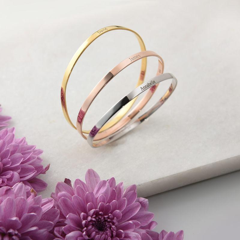 18k Gold-Plated Engraved Bangle Bracelet - 1