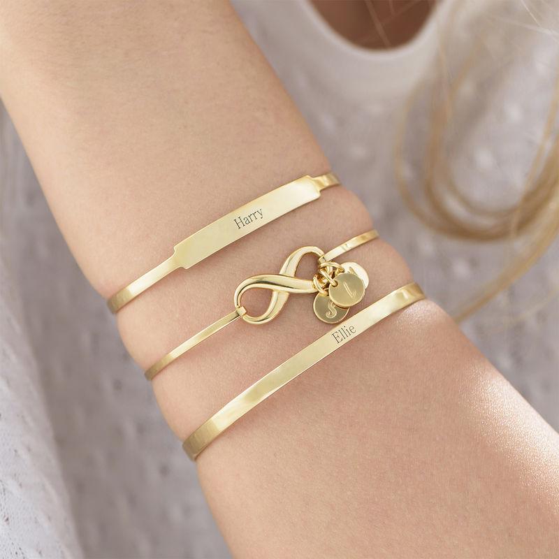 18k Gold-Plated Engraved Bangle Bracelet - 2