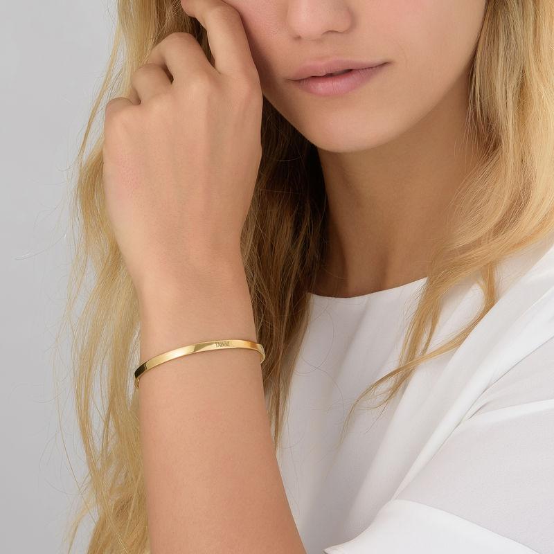 18k Gold-Plated Engraved Bangle Bracelet - 3
