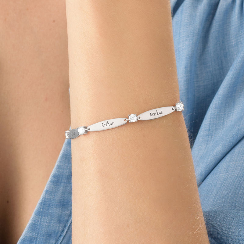 Engraved Mother Bracelet with Cubic Zirconia - 1