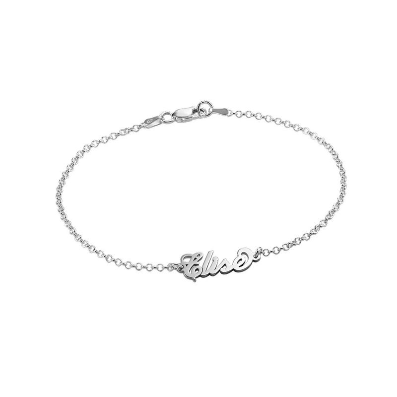 Tiny Sterling Silver Carrie Style Name Bracelet