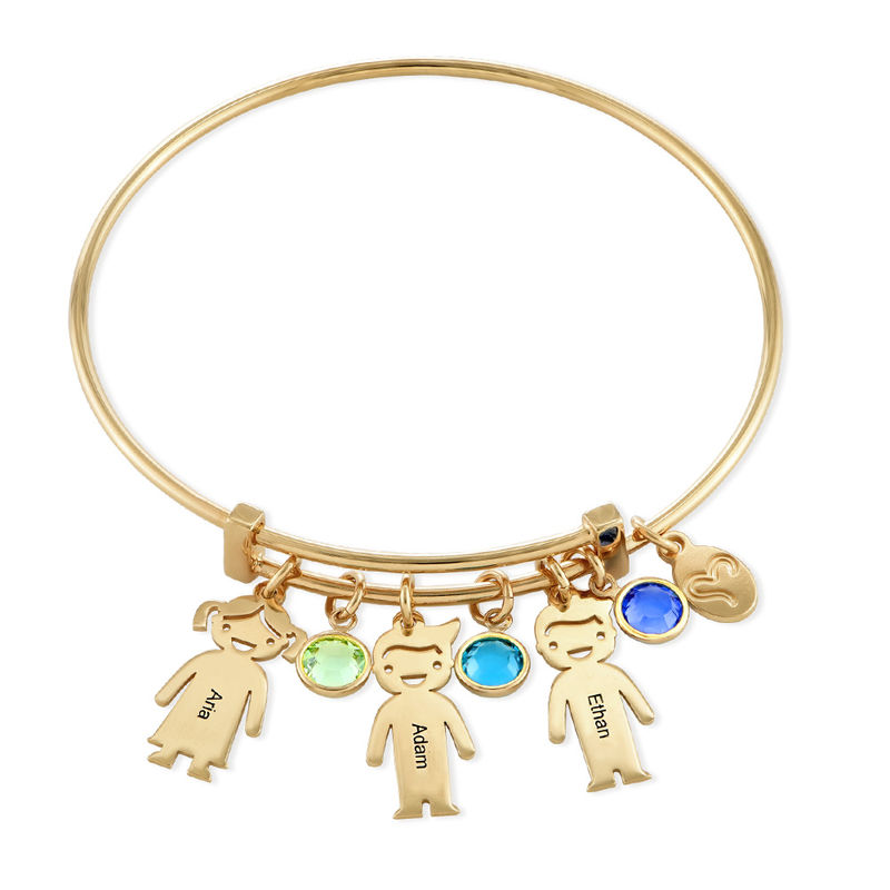 Gold Plated Bangle Bracelet with Kids Charms