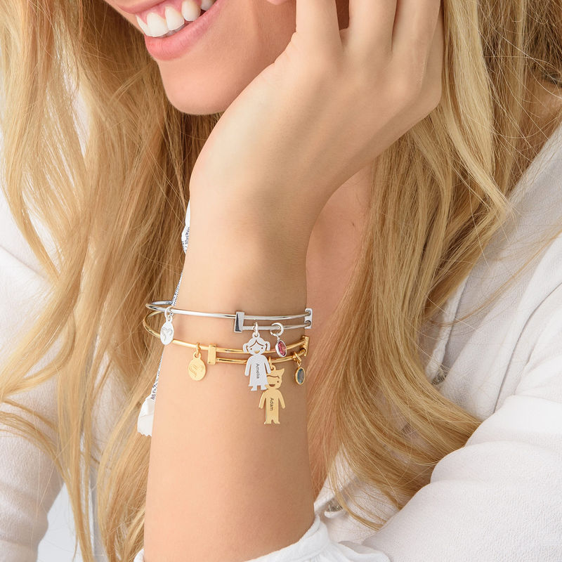 Gold Plated Bangle Bracelet with Kids Charms - 3