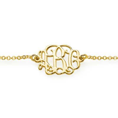 18k Gold Plated Sterling Silver Monogram Bracelet / Anklet - 1