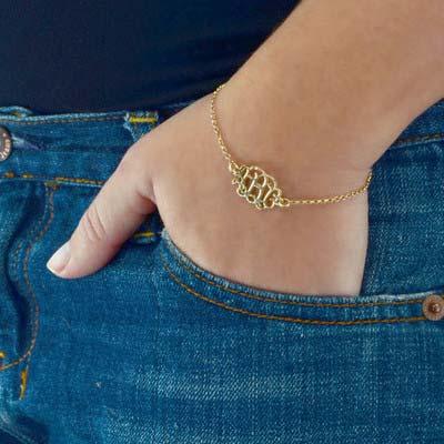 18k Gold Plated Sterling Silver Monogram Bracelet / Anklet - 2