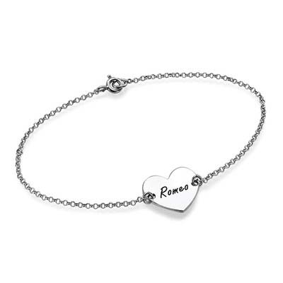 Sterling Silver Engraved Heart Couples Bracelet