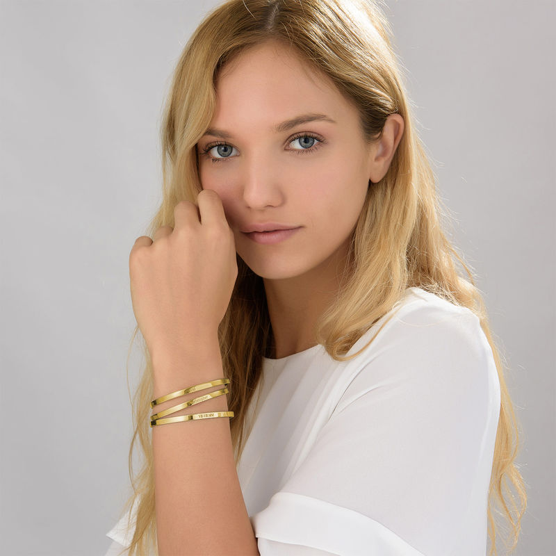 Numeral Date Bangle with 18K  Gold plating - 1