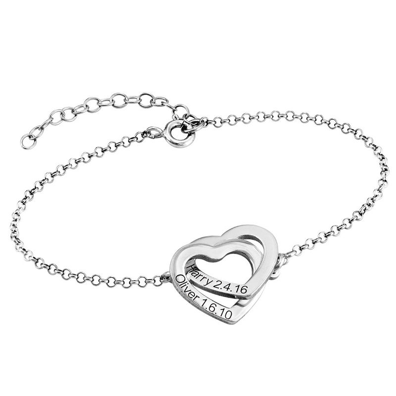 Interlocking Adjustable Hearts Bracelet in Sterling Silver