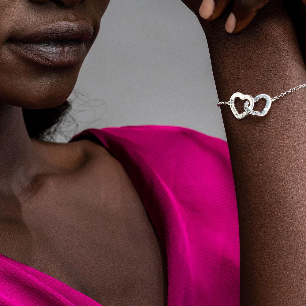 Diamond Interlocking Adjustable Hearts Bracelet in Sterling Silver  - 2