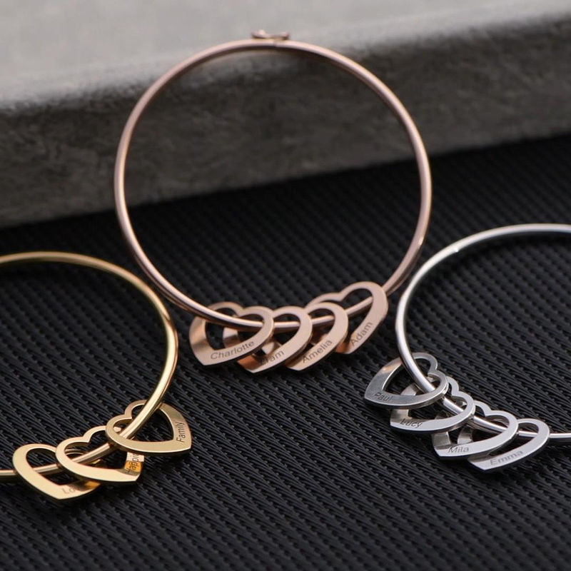 Bangle Bracelet with Heart Shape Pendants in Silver - 2