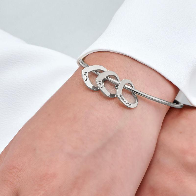 Bangle Bracelet with Heart Shape Pendants in Silver - 5