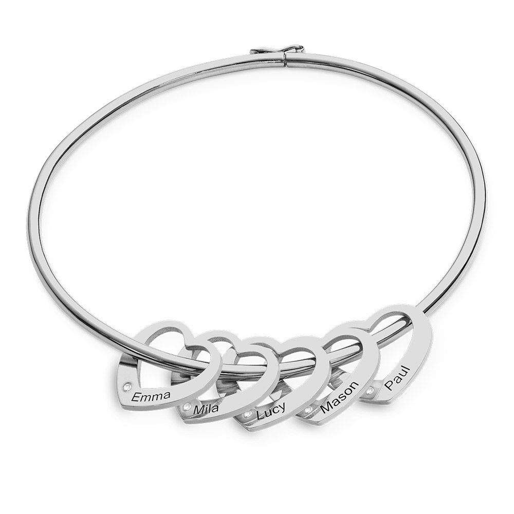 Bangle Bracelet with Heart Shape Pendants in Silver with Diamonds