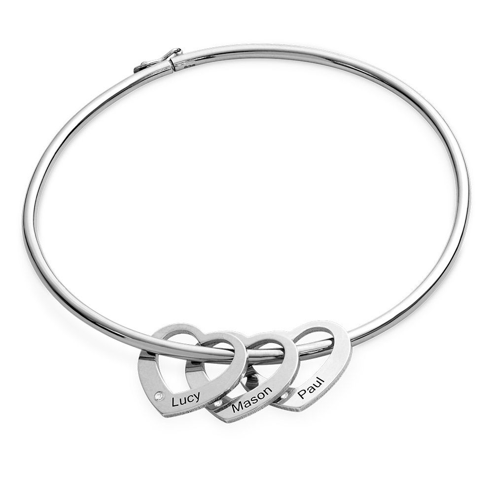 Bangle Bracelet with Heart Shape Pendants in Silver with Diamonds - 1