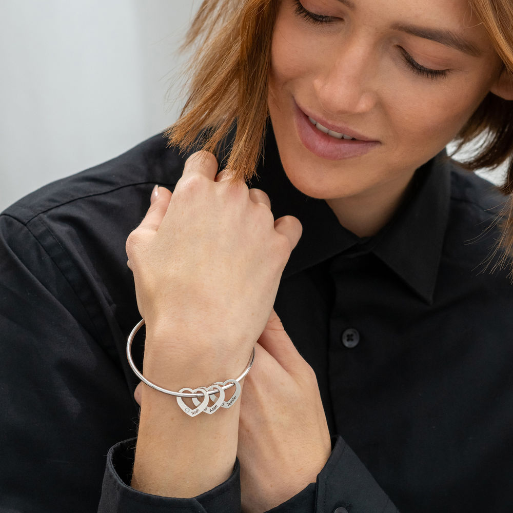 Bangle Bracelet with Heart Shape Pendants in Silver with Diamonds - 2