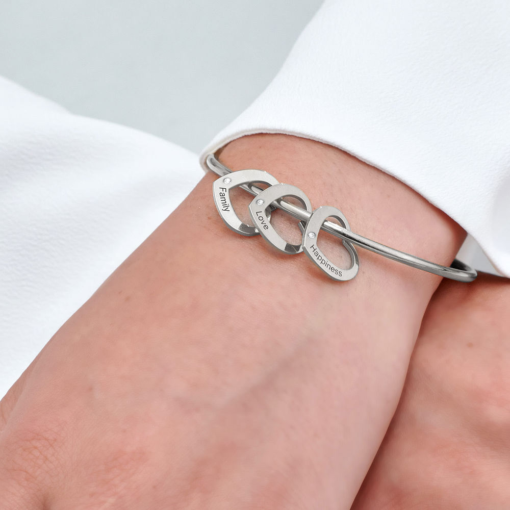 Bangle Bracelet with Heart Shape Pendants in Silver with Diamonds - 4