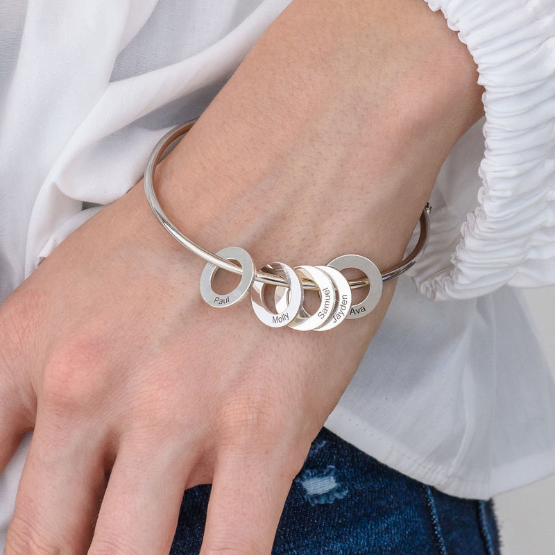 Bangle Bracelet with Round Shape Pendants in silver - 2