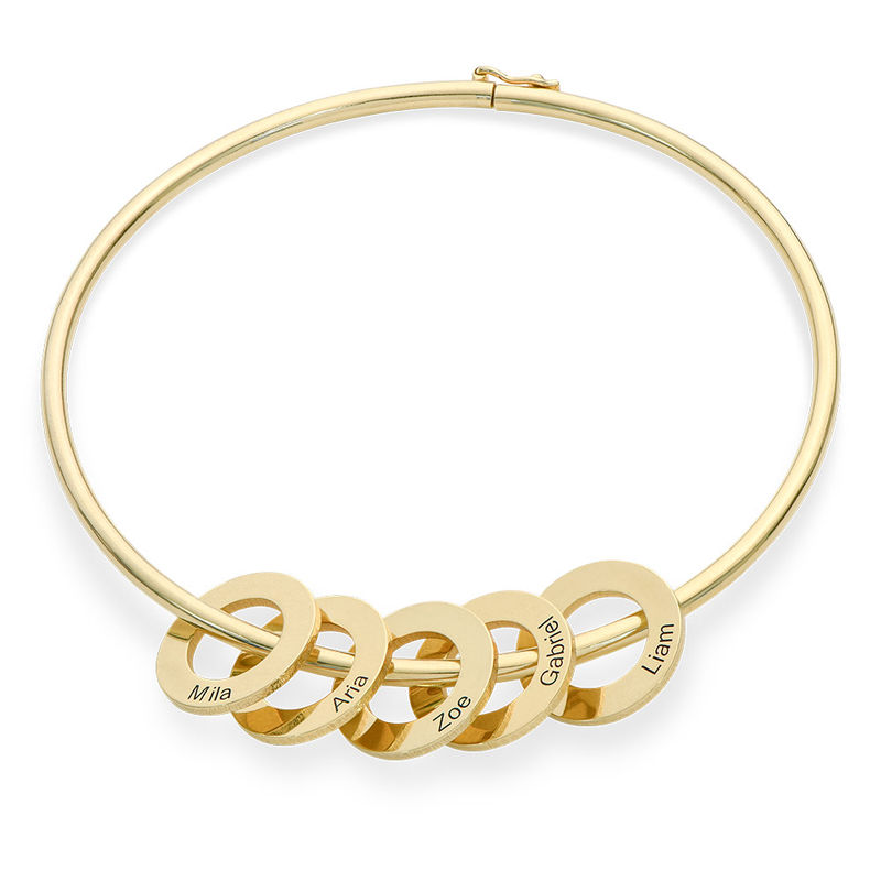 Bangle Bracelet with Round Shape Pendants in Gold Plating