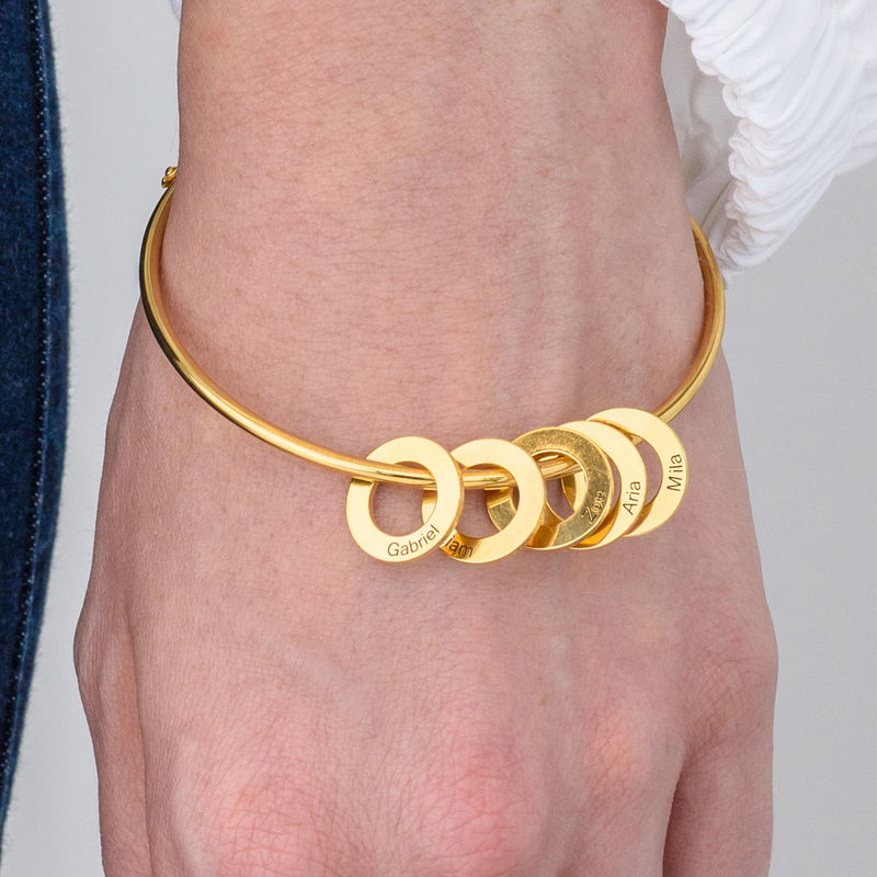 Bangle Bracelet with Round Shape Pendants in Gold Plating - 3