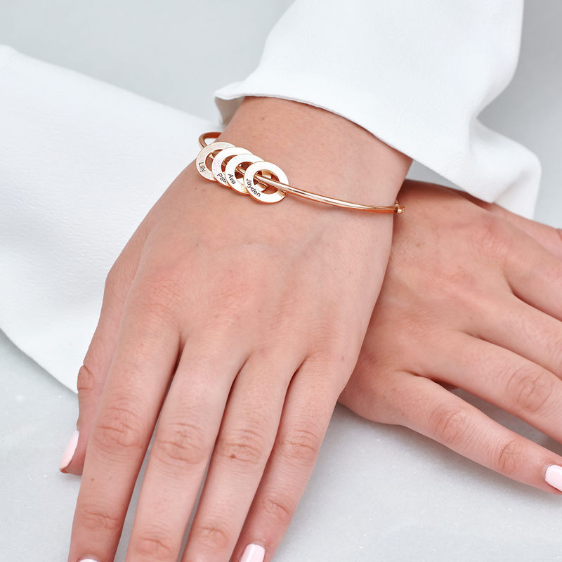 Bangle Bracelet with Round Shape Pendants in Rose Gold Plating - 3