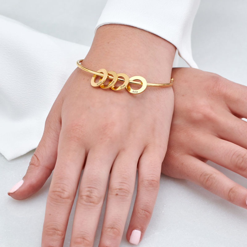 Bangle Bracelet with Round Shape Pendants in Gold Vermeil - 3