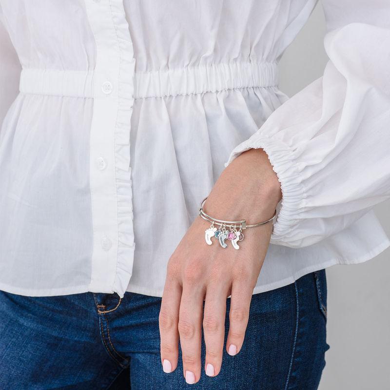 Baby Feet Bangle Bracelet with Birthstones - 2
