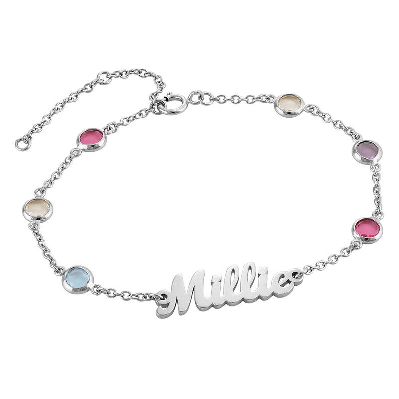 Name Bracelet with Multi Colored Stones in Silver
