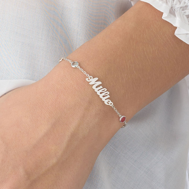 Name Bracelet with Multi Colored Stones in Silver - 2