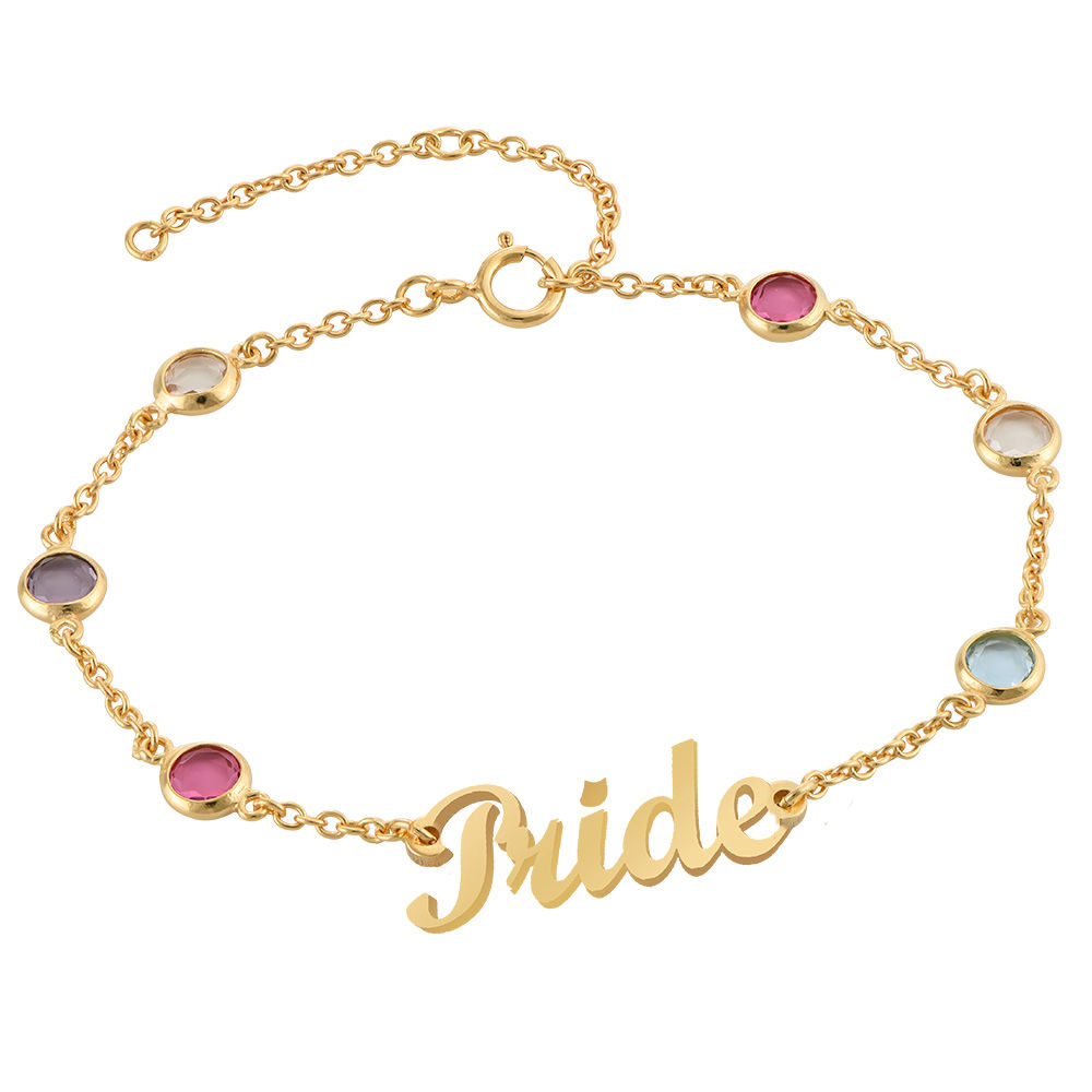 Name Bracelet with Multi Colored Stones in Gold Plating