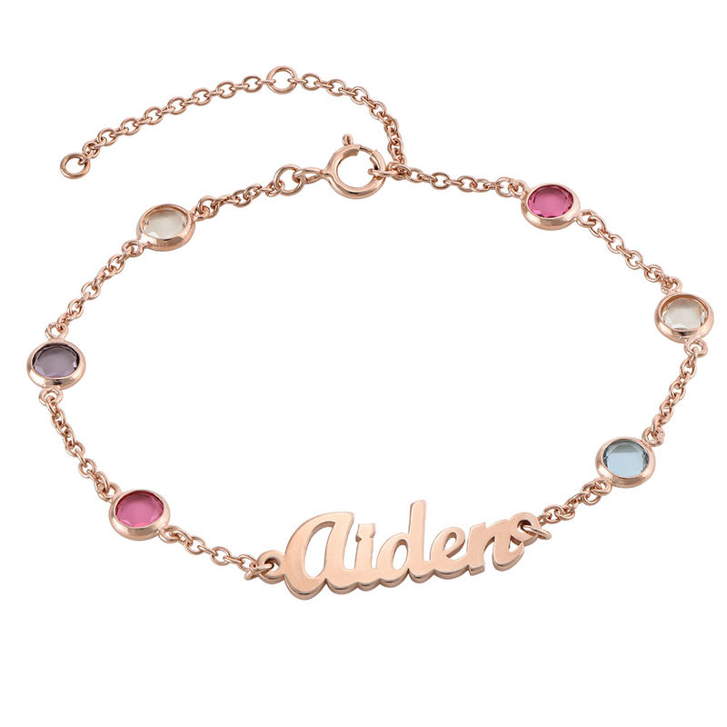Name Bracelet with Multi Colored Stones in Rose Gold Plating