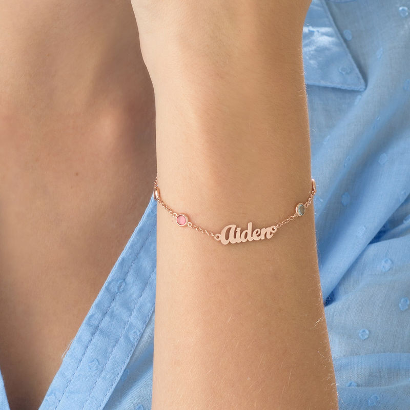 Name Bracelet with Multi Colored Stones in Rose Gold Plating - 2