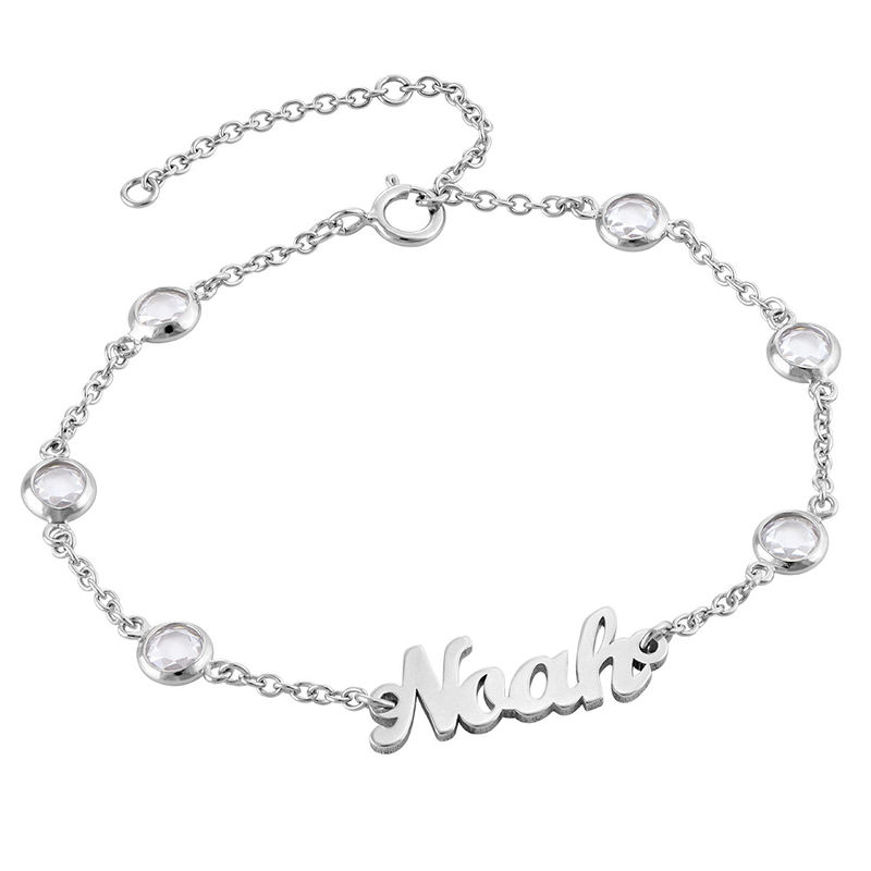 Name Bracelet with Clear Crystal Stone in Silver