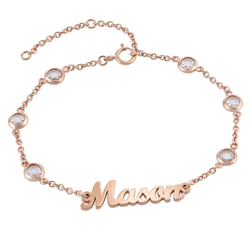 Name Bracelet with Clear Crystal Stone in Rose Gold Plating