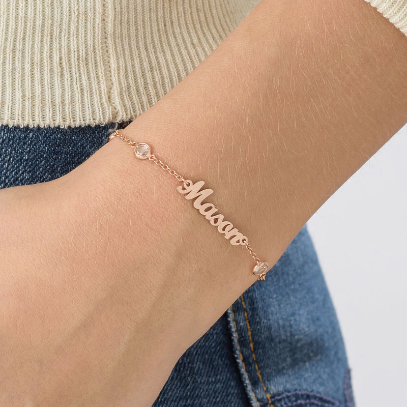 Name Bracelet with Clear Crystal Stone in Rose Gold Plating - 2