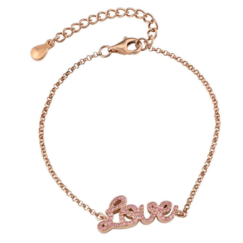 Love Adjustable Inspirational Bracelet in Rose Gold Plating