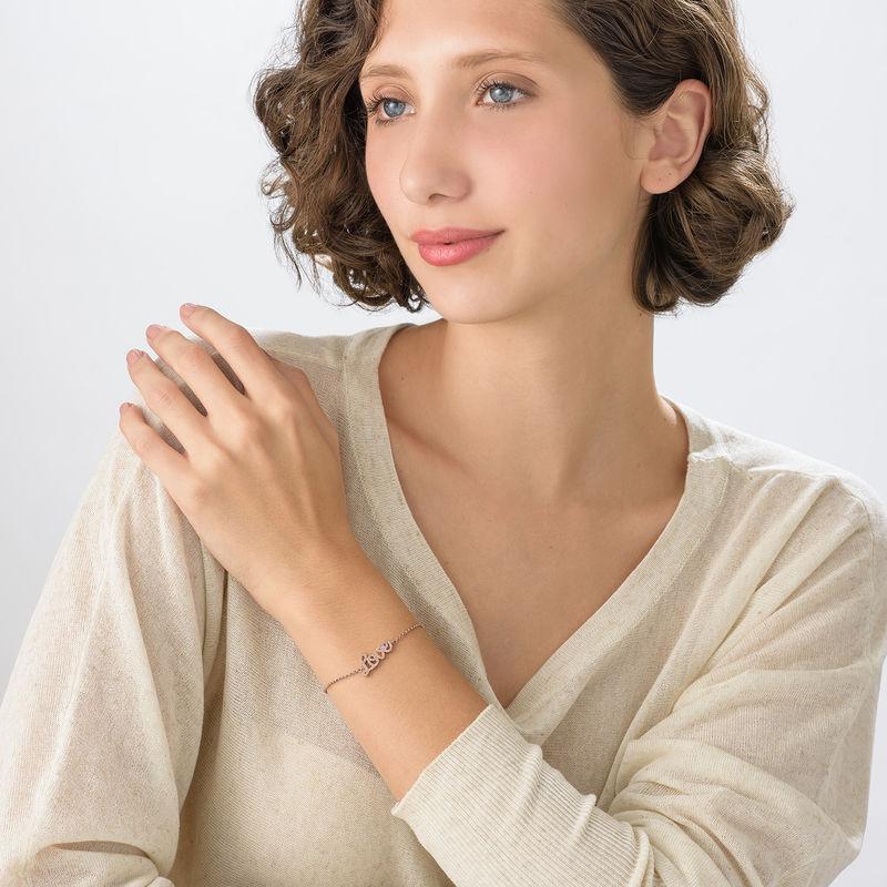 Love Adjustable Inspirational Bracelet in Rose Gold Plating - 1