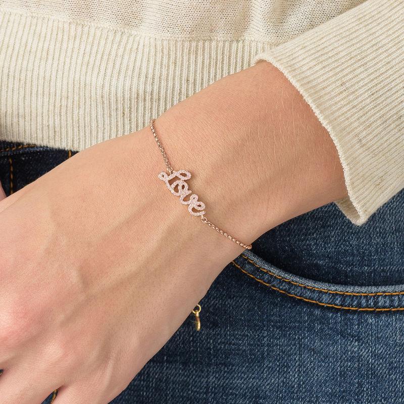Love Adjustable Inspirational Bracelet in Rose Gold Plating - 2