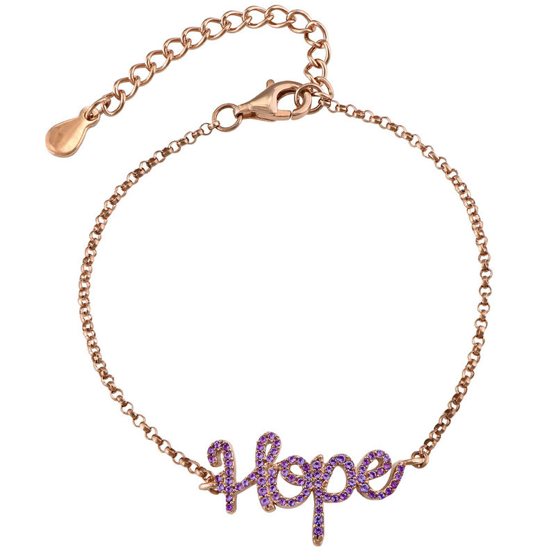 Hope Adjustable Inspirational Bracelet in Rose Gold Plating
