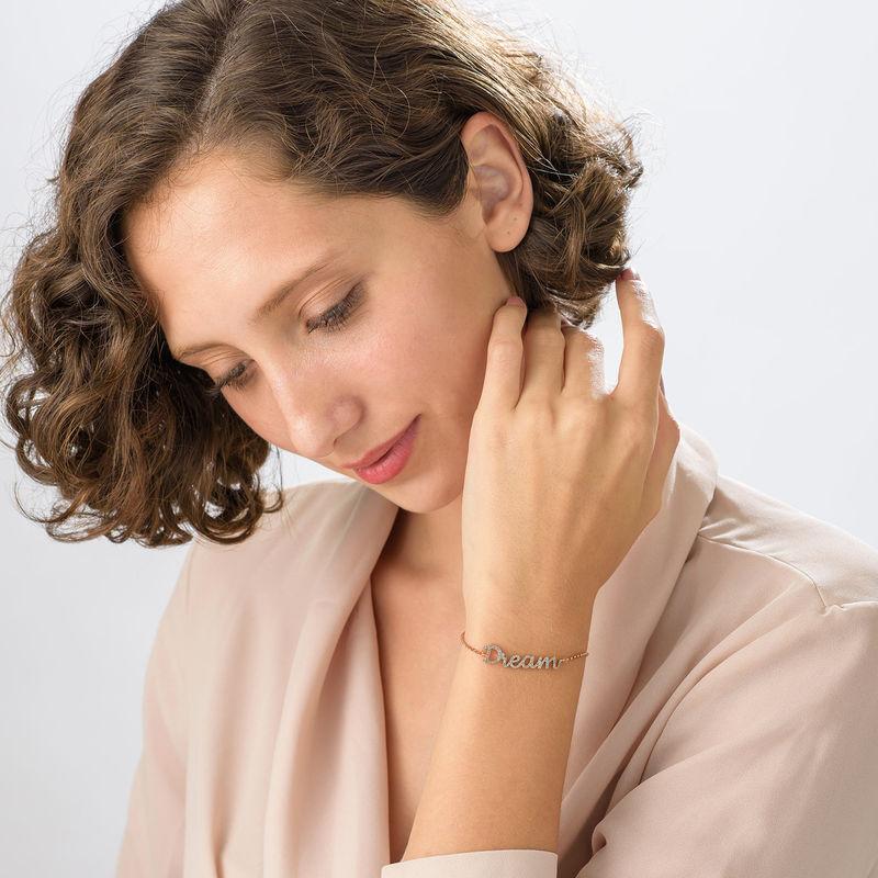 Dream Adjustable Inspirational Bracelet in Rose Gold Plating - 1