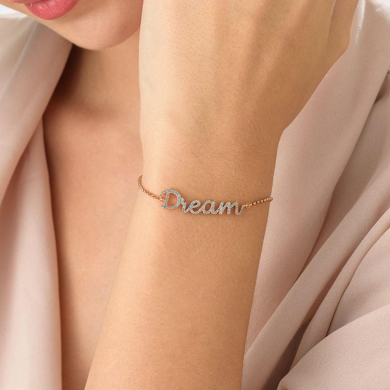 Dream Adjustable Inspirational Bracelet in Rose Gold Plating - 2