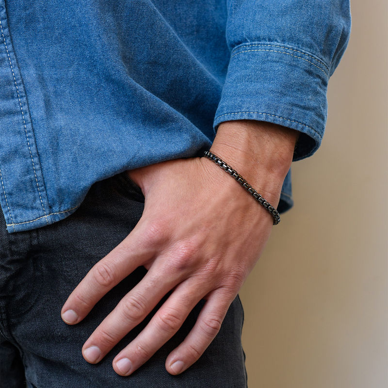 Box Chain Bracelet for Men in Black Sterling Silver - 1