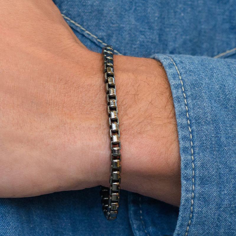 Box Chain Bracelet for Men in Black Sterling Silver - 2