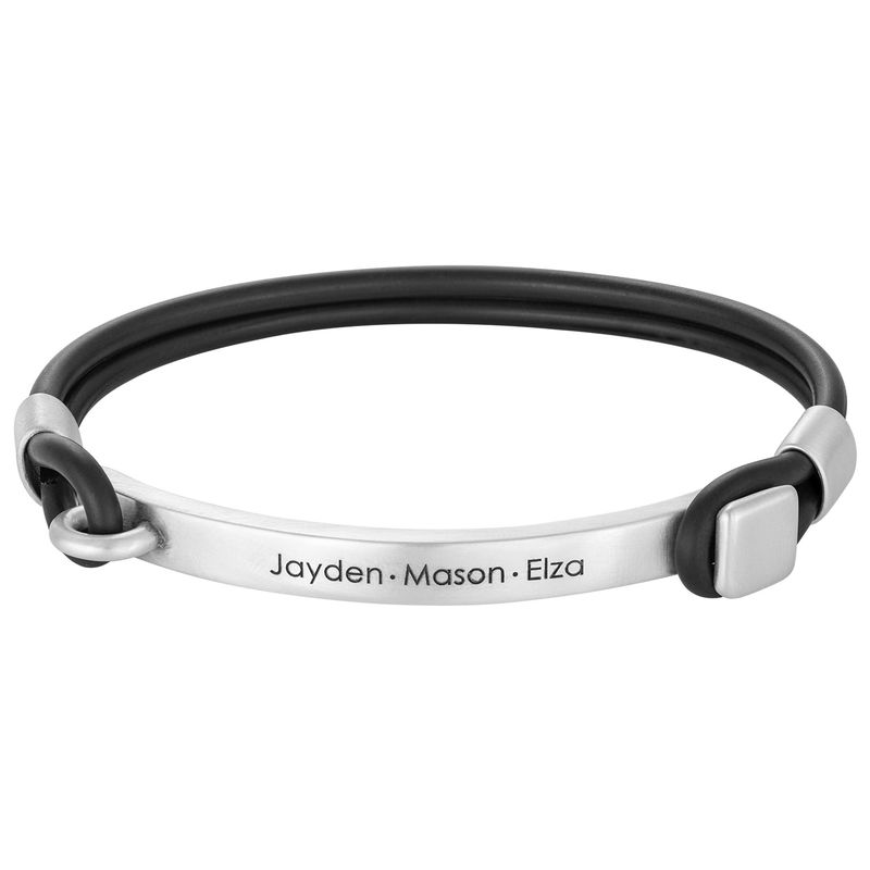 Personalized Rubber Bracelet with Engravable Bar in Silver