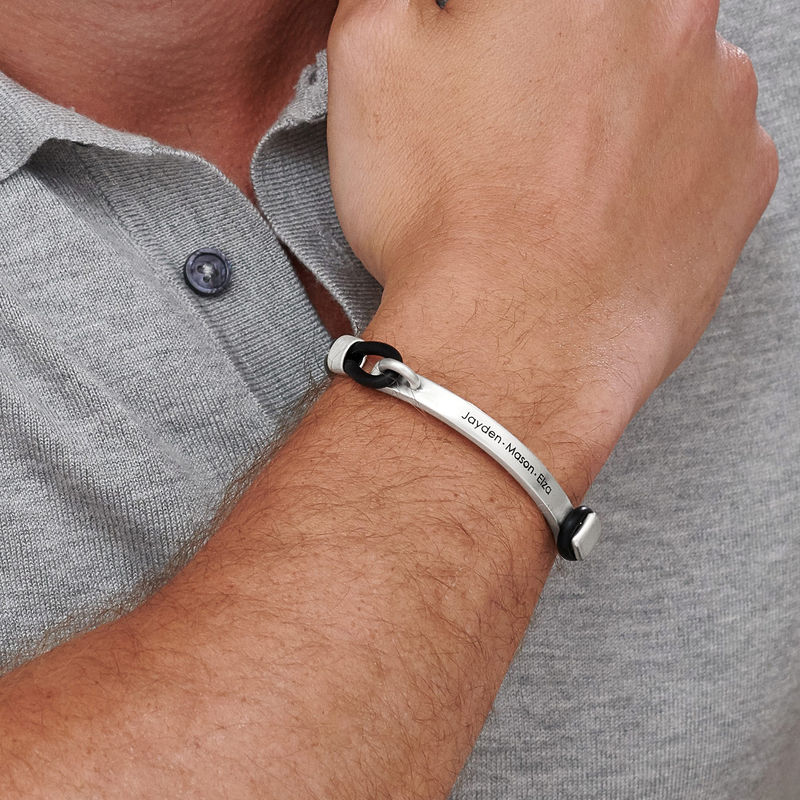 Personalized Rubber Bracelet with Engravable Bar in Silver - 1