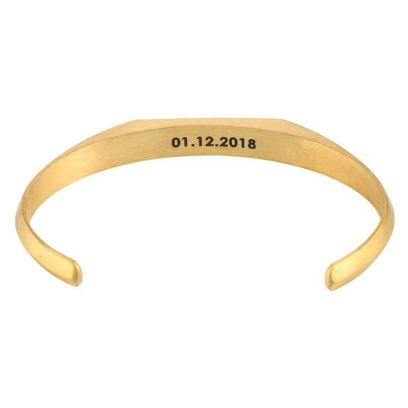 Men's Narrow Cuff Bracelet in 18k Gold Plating - 1